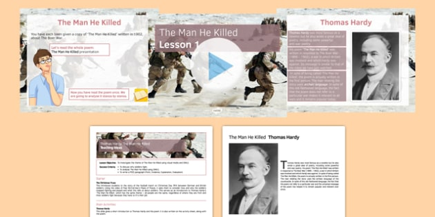 The Man He Killed Lesson Pack - Thomas Hardy, The Man He Killed, War Poetry, Poetry, GCSE