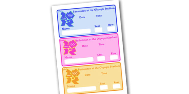 The Olympics Badminton Event Tickets (Editable) - Badminton, Olympics, Olympic Games, sports, Olympic, London, 2012, event, ticket, tickets, entry, stadium, activity, Olympic torch, events, flag, countries, medal, Olympic Rings, mascots, flame, compe