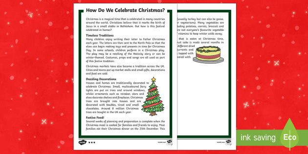 KS1 How Do We Celebrate Christmas Differentiated Fact File - Christmas, Nativity, Jesus, xmas, Xmas, Father Christmas, Santa