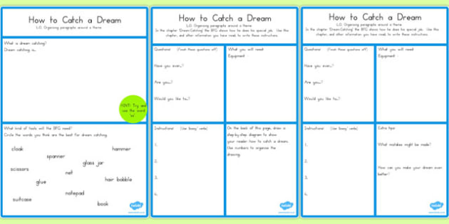 BFG How to Catch a Dream Instructions Worksheet - australia