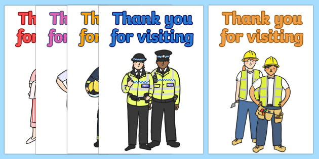 People Who Help Us Thank You For Visiting Card Templates - people who help us, thank you, card cards, templates, visiting, help, helping, police, nurse, doctor, people, kind
