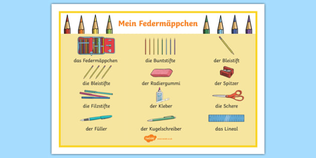 Pencil Case Objects German Word Mat