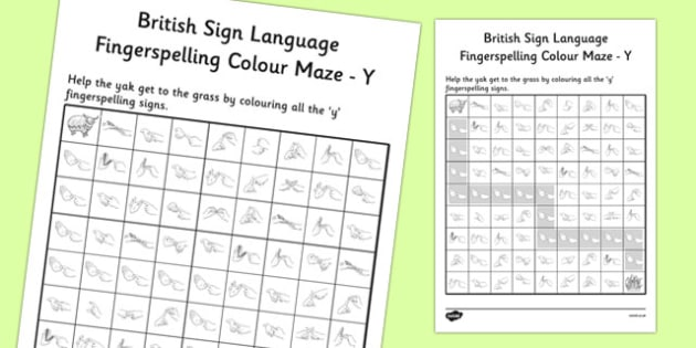 British Sign Language Left Handed Fingerspelling Colour Maze Y
