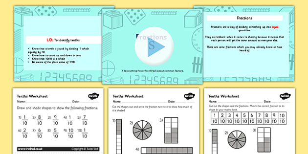 Year 3 Fractions Tenths Task Setter Powerpoint Activity Pack - year 3, year three, fractions, year 3 fractions, tenths, task setter, powerpoint, activities