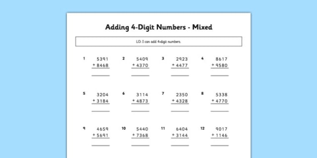 Adding 4 Digit Numbers Mixed - adding, 4 digit, numbers, mixed, maths, numeracy