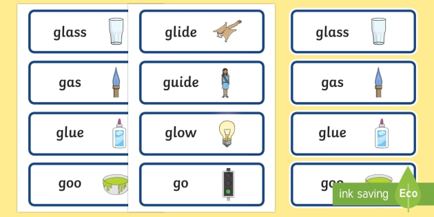 'gl' and 'g' Near Minimal Pair Word Cards - phonological processes, articulation, phonology, cluster reduction, cluster simplification