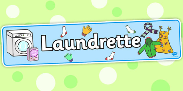 Laundrette Role Play Display Banner - washing, laundrette, washing machine, display, banner, sign, poster, wash, washing powder, clothes, socks, T-shirt, trousers