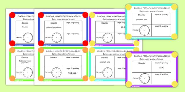 Karty z wyzwaniami Czas po polsku - matematyka - polish, time, clocks, hours, numeracy