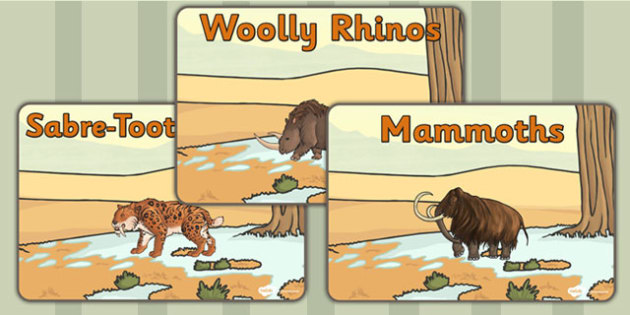 Stone Age Animals Group Signs - stone age, signs, labels, animals