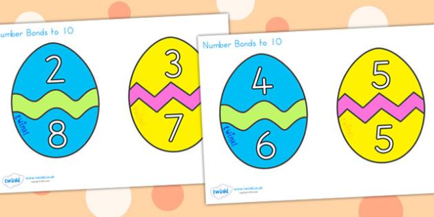 Easter Egg Number Bonds To 10 - easter, easter egg, number bonds