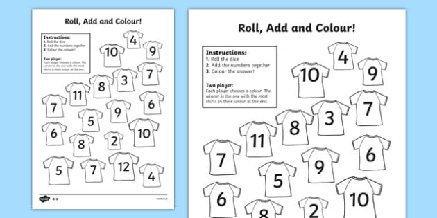 Football Roll And Colour Activity Sheet - football, colour, games, euro 2016, worksheet