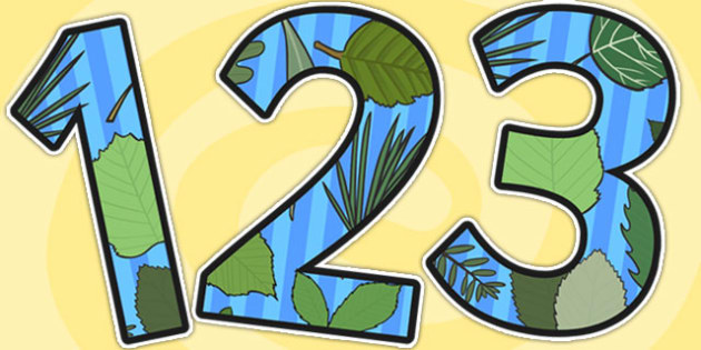 Leaf Themed A4 Display Numbers - leaf, leaves, plants, numbers