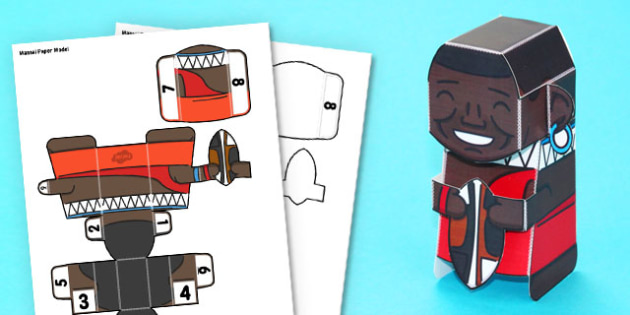 3D Maasai Paper Model Activity - paper craft, display, making, design, technology, topic, safari, nature, science, wildlife, animals