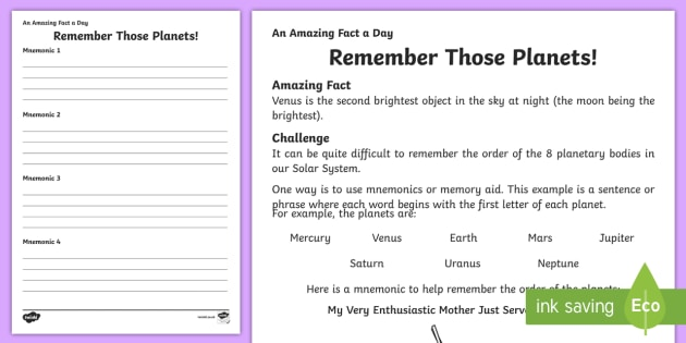 Remember Those Planets Activity Sheet, worksheet