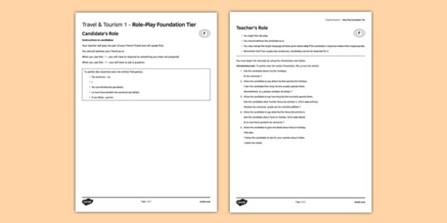 Les voyages & le tourisme 1 Jeu de rôle Foundation Tier - Role Play, Foundation, Travel, Tourism, Holidays