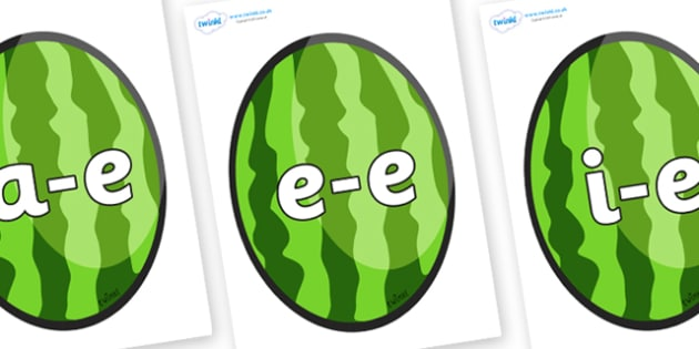 Modifying E Letters on Melons (Vertical) - Modifying E, letters, modify, Phase 5, Phase five, alternative spellings for phonemes, DfES letters and Sounds