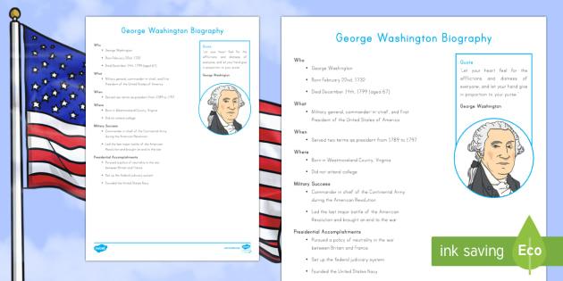 George Washington Fast Facts Fact File - George Washington Worksheets. American Presidents, American History, Social Studies