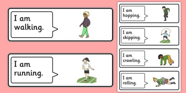 50 I Am Verb Cards - language disorder / delay, SLI, word order, subject verb sentences, ASD