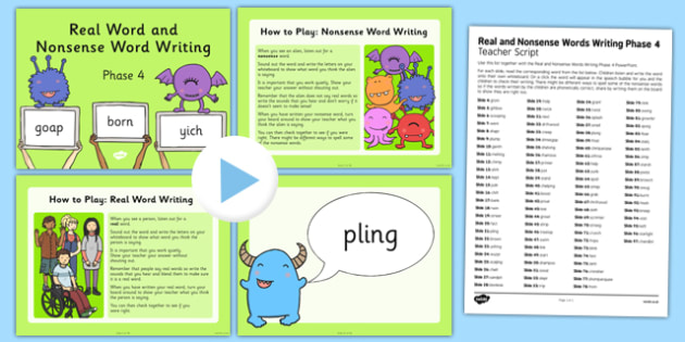 Real and Nonsense Words Writing Phase 4 PowerPoint and Script