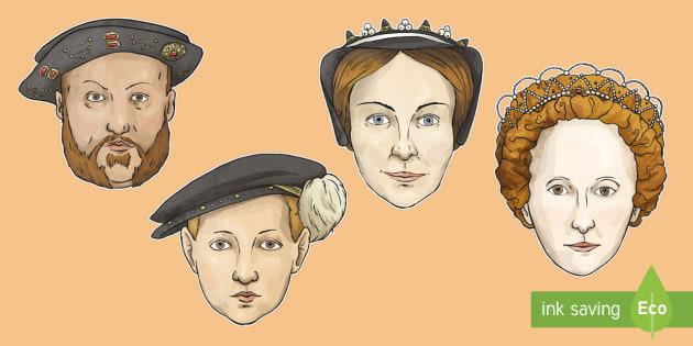 Key Historical Figures Role Play Masks - Elizabethan Religious Settlement, Henry VIII, Edward VI, Mary I, Elizabeth I, Mary, Queen of Scots,