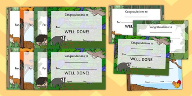 Woodland Themed Cartificate Pack - award, rewards, animals, early years, KS1, ks2, key stage 1, key stage 2, praise