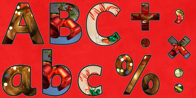 Christmas Themed Photo Size Editable Display Lettering - xmas