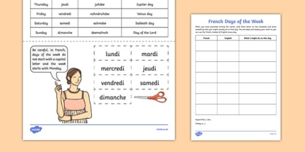 French Days of the Week - french, days of the week, vocabulary