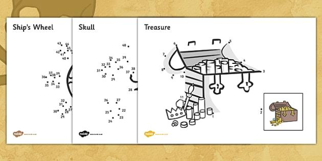 Dot to dot Sheets (Pirates) - dot to dot sheets pirates, dot to dot, sheets, pirates, pirate, colouring, fine motor skills, drawing, game, activity, draw, line, ocean, island, ship, treasure