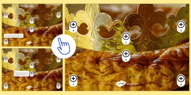 French Epiphany Questions Picture Hotspots - Epiphany, Épiphanie, French, 6th January, janvier, fête, rois, couronne, crown , kings,French