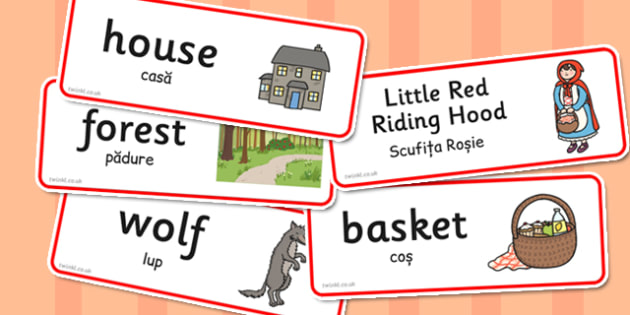 Little Red Riding Hood Word Cards Romanian Translation - romanian