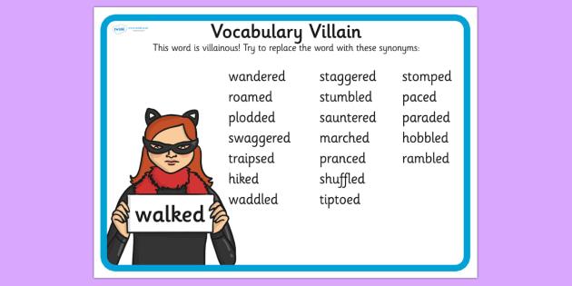 Vocabulary Villain Walked Word Mat - walked, word mat, topic words, key words, word list, keyword, words, key word mat, themed word mat, themed word list
