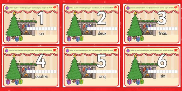 Christmas Counting Activity Playdough Mats French - french, christmas, counting, activity, playdough mats