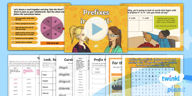 PlanIt Y4 Term 1A W4: il- and ir- Prefixes Spelling Pack