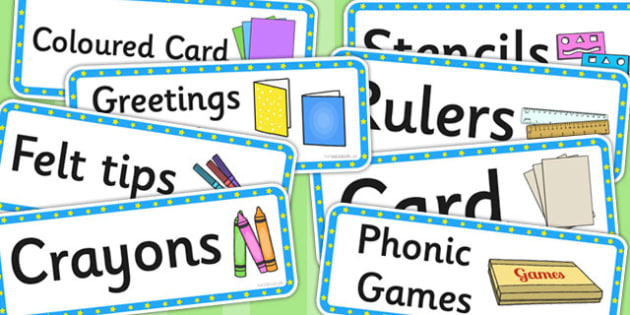 Blue and Yellow Stars Writing Area Resource Labels - labels