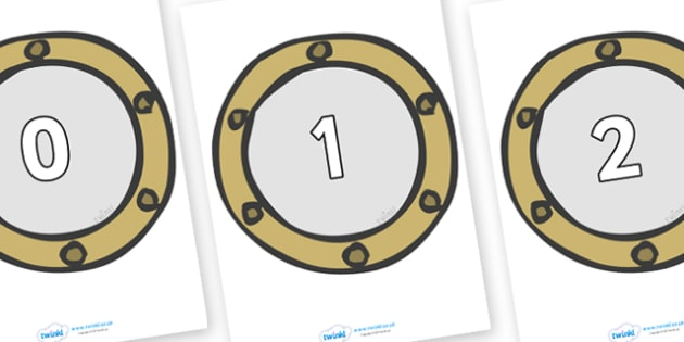 Numbers 0-31 on Portholes - 0-31, foundation stage numeracy, Number recognition, Number flashcards, counting, number frieze, Display numbers, number posters
