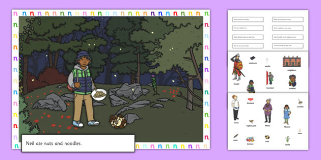 Silly N Sound Sentences Cut and Stick Pictures - silly n, sentence, cut and stick, pictures