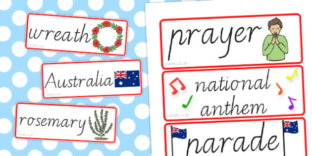 Anzac Day Word Cards - anzac day, australia, visual aids, words