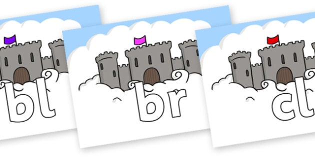 Initial Letter Blends on Castles - Initial Letters, initial letter, letter blend, letter blends, consonant, consonants, digraph, trigraph, literacy, alphabet, letters, foundation stage literacy