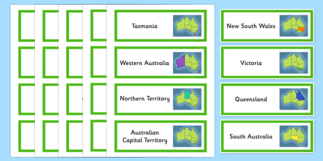 Australian States and Territories Vocabulary Word Cards - states, territories, vocabulary, map, display, capital, Australia