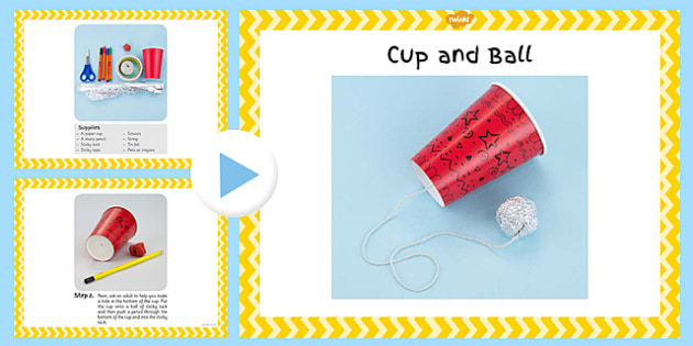 Cup and Ball Craft Instructions PowerPoint - EYFS, KS1, craft, Victorian toys