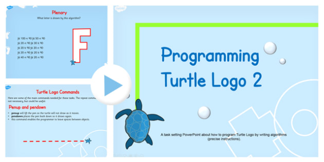 Programming Turtle Logo Writing Algorithms PowerPoint Lesson 2
