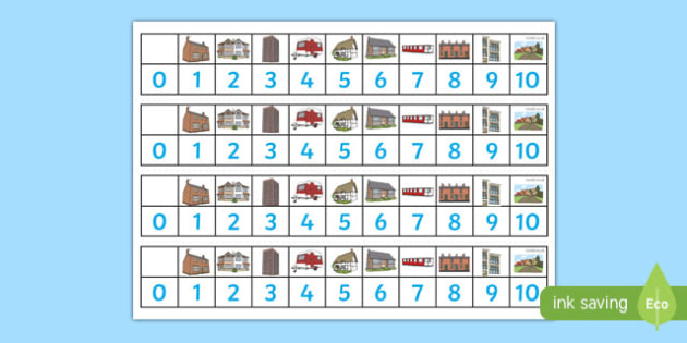 Houses and Homes Number Track (1-10) - house, home, building, Maths, Math, number track, numbertrack, Counting, Numberline, Number line, Counting on, Counting back,  brick, stone, detached, terraced, bathroom, kitchen, door, caravan, where we live, o