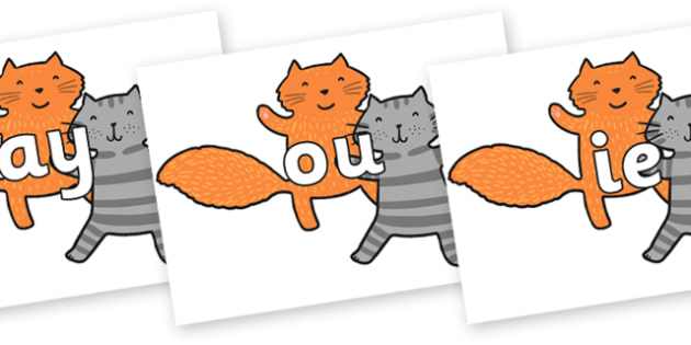 Phase 5 Phonemes on Cats to Support Teaching on What the Ladybird Heard - Phonemes, phoneme, Phase 5, Phase five, Foundation, Literacy, Letters and Sounds, DfES, display