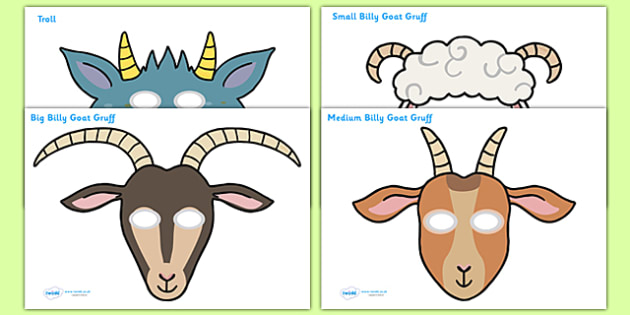 The Three Billy Goats Gruff Role Play Masks - Three Billy Goats Gruff, role play masks, role play, traditional tales, tale, fairy tale, goat, billy goat, troll, sweet grass, bridge