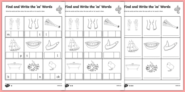 Ee Worksheet Find and Write the ee Words Differentiated – Ee Worksheets