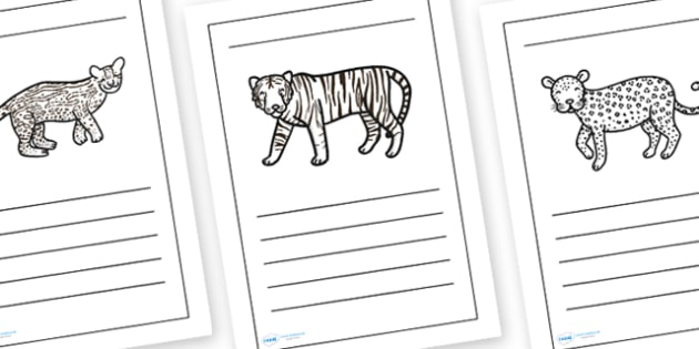 Jungle Animal Writing Frames Lined - jungle animals, writing frames, jungle themed writing frames, jungle writing frames, animal writing frames