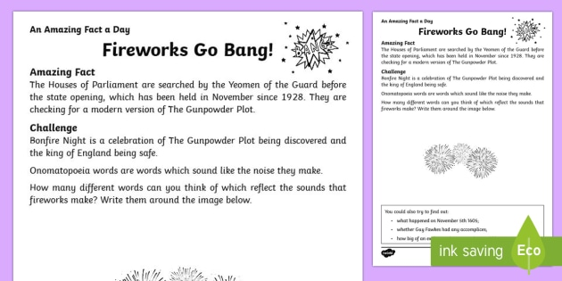 Fireworks Go Bang Activity Sheet
