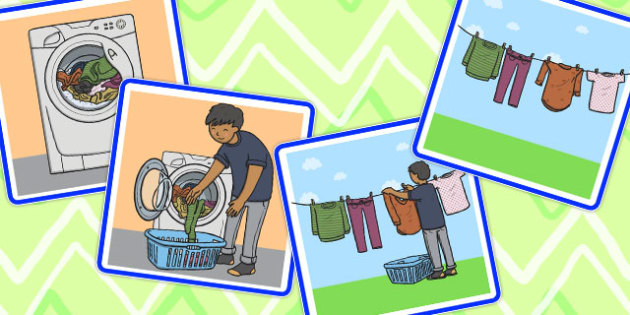 Sequencing Cards Hanging Out the Washing - sequencing, cards