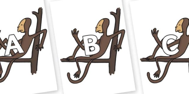A-Z Alphabet on Muggle Wump The Monkey to Support Teaching on The Enormous Crocodile - A-Z, A4, display, Alphabet frieze, Display letters, Letter posters, A-Z letters, Alphabet flashcards
