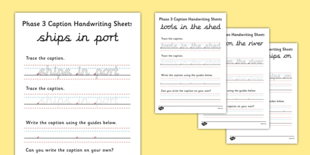 Phase 3 Captions Handwriting Sheets - handwriting, captions, writing, sheets, activity, phase 3 phase three, tracing, letters, trace